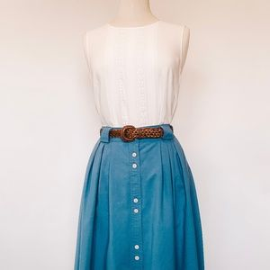Vintage Blue Khaki Button Front Utility Skirt